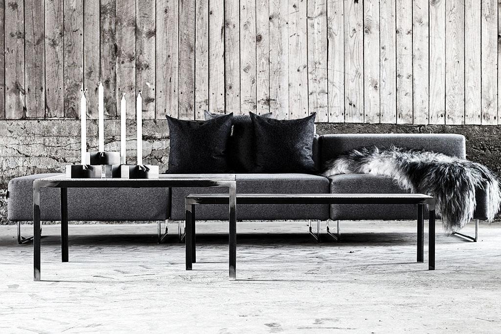 Snygg inredning i grått och betong på Grafitgrå utanför Jönköping.